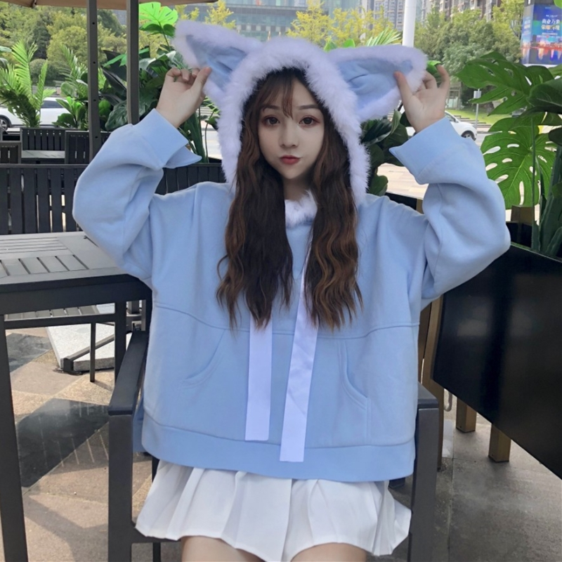 2018 Harajuku Kawaii Blue Hoodies Women Autumn Hooded Sweatshirts Japanese Cute Young Girl Plush Rabbit Ear Loose Pullovers Tops