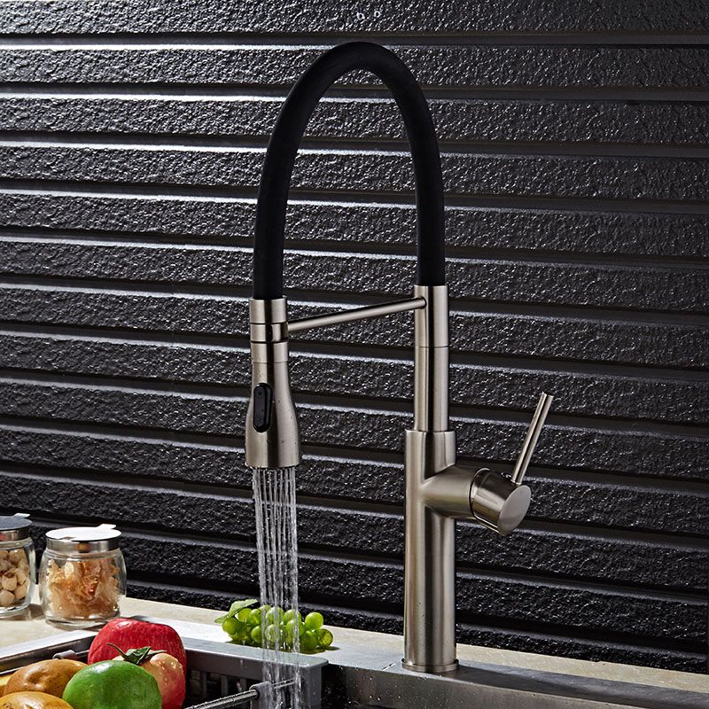 Free Shipping Luxury Nickel Pull Down Kitchen Faucet New Arrival Solid Brass Swivel Pull Out Spray Sink Mixer Tap Water tap solid brass kitchen faucet pull out swivel spout mixer tap deck mount sink mixer tap pull down spray hot and cold water