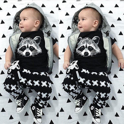 Hot Sell Newborn Toddle Baby Girl Boy Outfits Cute Fox T-shirts X Pants Leggings Casual Sets Clothes Suit 2Pcs