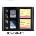 8 em 1 Saco De Caixa De Armazenamento de Alumínio Caso de Cartão de Memória Titular carteira Grande Capacidade De 2 Cartão SD * 2 * Cartão CF 4 * MicroSD cartão