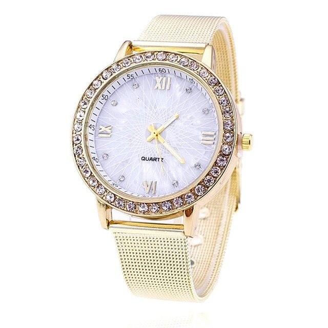 c5c3cadae60 2018 Luxo Relógio de Ouro Mulheres Rhinestone Watch Ladies Vestido Moda  Quartz Relógio Reloj Mujer Relogio