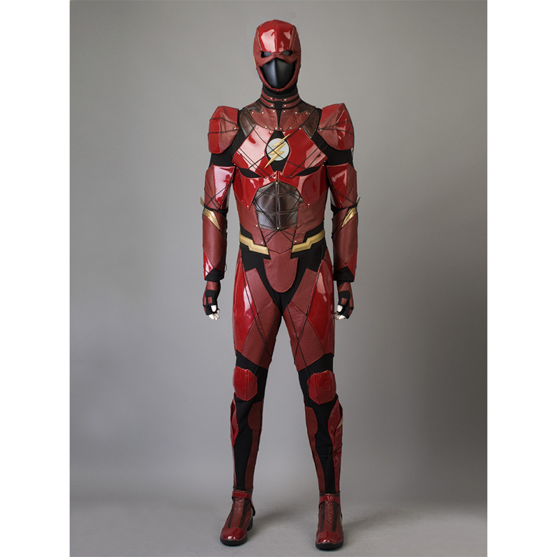 Procosplay Justice League <font><b>Barry</b></font> <font><b>Allen</b></font> cosplay red jumpsuit <font><b>costume</b></font> The <font><b>Flash</b></font> Cosplay <font><b>Costume</b></font> & Mask mp003656 image