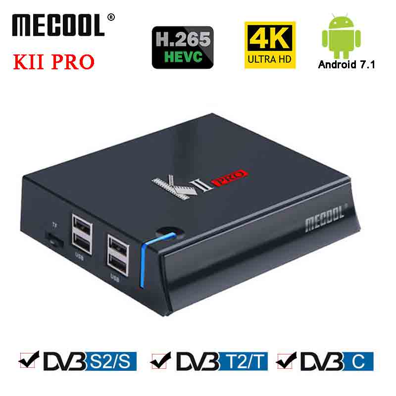 MECOOL KII Pro Android Tv Box DVB-T2&DVB-S2 Amlogic S905D 1000M 2G DDR4 16G Rom Android 7.1 Tv Box K2 PRO BT4.0 4K H.265 Player box