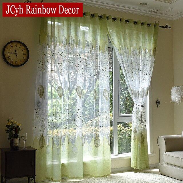 Modernas cortinas de tul para la Sala Verde hojas Sheer cortina para ...