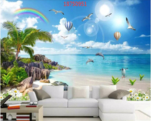 beibehang Custom size HD beautiful dreamy seascape coconut tree beach landscape TV background wall behang wallpaper papier peint