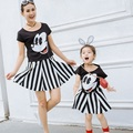Cotton Family Set 2pcs Mother Daughter Dresses Cartoon T shirt Striped Dress Clothing Sets Mom & Daughter Dress Clothes 3XL ZL8