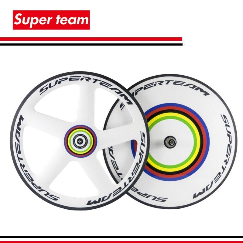 La plus nouvelle fibre de carbone T700c roues avant 5 rayons arrière disque roue pneu route vélo roues blanc peinture