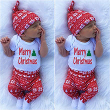 2016Infant Baby Girls Christmas Clothes!!Summer Short Sleeve Letter Bodysuit +Long Print Pants+ Hat 0-18M 3PCS Set!!