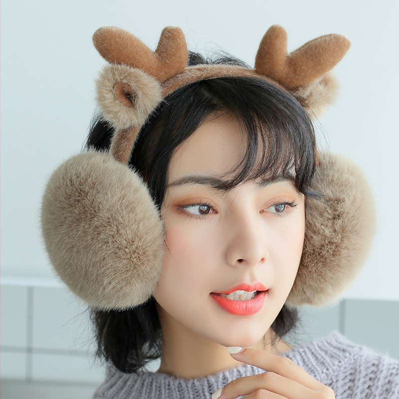 New Warm Earmuffs Female Winter Imitation Rabbit Fur Cute Cartoon Elk Christmas Earmuffs Folding Boys Animal Ear Deaf PS-01