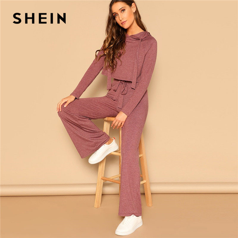 SHEIN Drawstring Crop Hoodie And Pants Set 2 Piece Outfits For Women Spring Casual Long Sleeve Crop Top Wide Leg Pants Sets 1