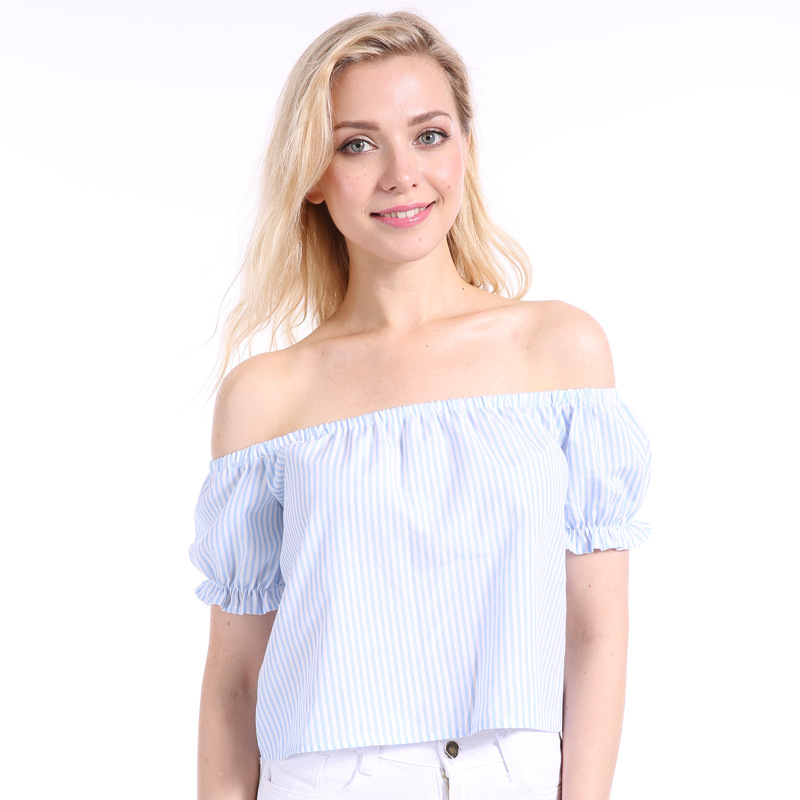 MSAISS Summer Off Shoulder Top T shirt Women Stripe Casual Short Tee Shirt femme camiseta mujer