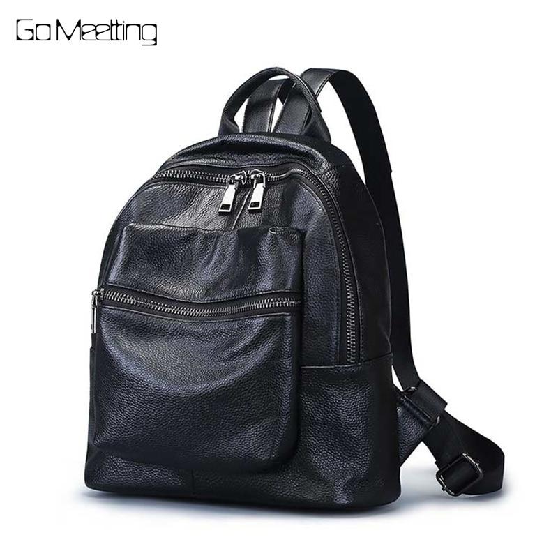 Go Meetting Women Backpack Genuine Leather Shoulder Bag Backbag Female Zipper School Bag Girl Travel Backpacks Mochila feminina цена