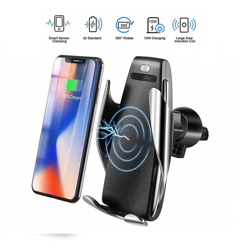 Automatic Clamping Car Phone Holder Wireless Charging Car charger Holder Mount Air Vent for iPhone Xs Max XR Samsung Fast Charg|Universal Car Bracket| |  - title=