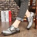 Весна Осень Мужчин Повседневная Мужская Обувь Англия Тенденция Круглый Носок Увеличение кожа В Нижнем сократить Мужская Обувь Плоским Рабочих Мужчин Сапоги Maschio