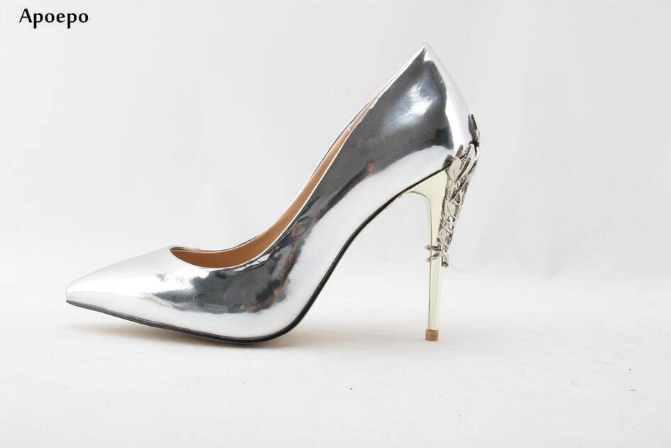 Apopeo Newest Silver Metallic Leather High Heels 2018 Sexy Pointed Toe Stiletto Heels For Woman Slip-on Dress Heels Shoe цены онлайн