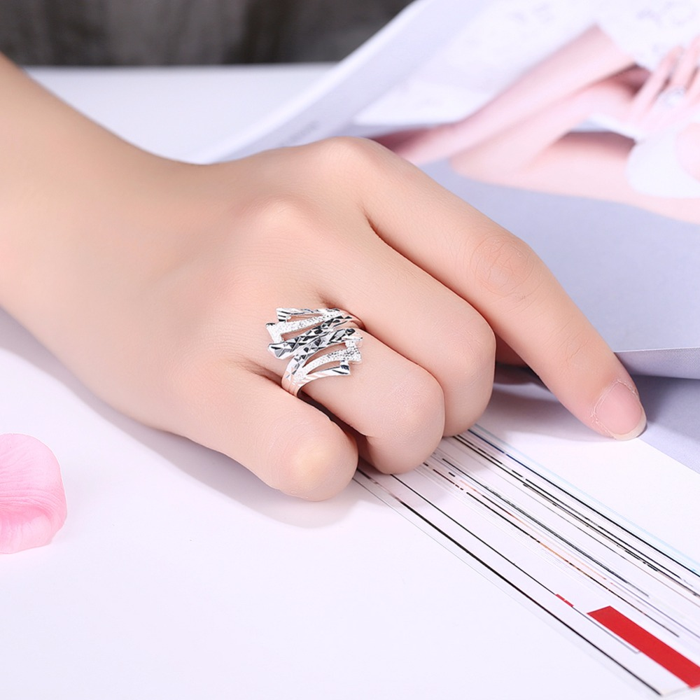 GNIMEGIL Fashion Jewelry Silver Color Ring Angel Wing Rings for ...
