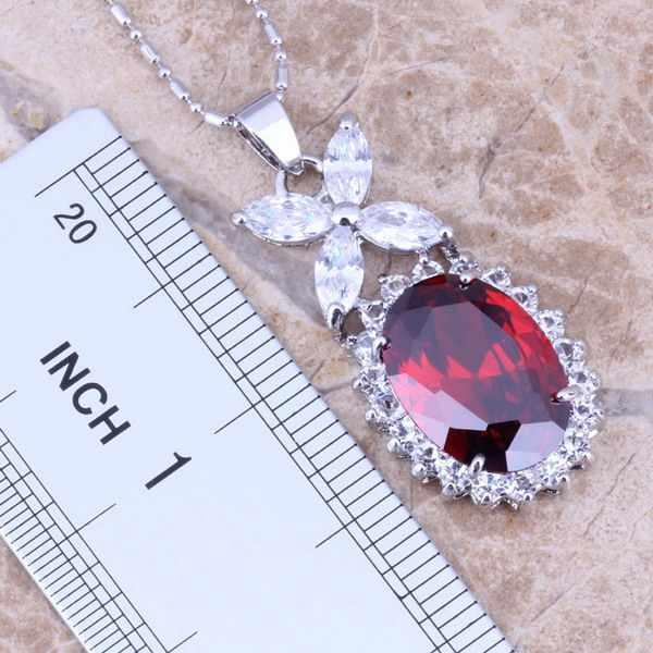 สีแดงโกเมนCZ Silver Platedชุดเครื่องประดับต่างหูจี้แหวนขนาด 5 / 6 / 7 / 8 / 9 / 10 S0040