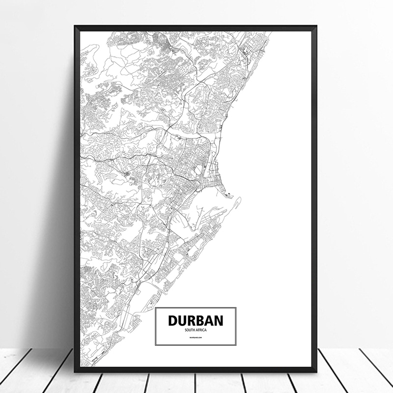 <font><b>Durban</b></font>, South Africa Black White Custom World City Map Poster Canvas Print Nordic Style Wall Art Home Decor image