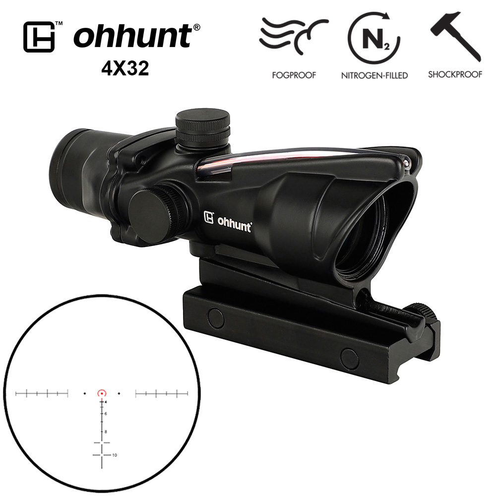 ohhunt 4x32 Hunting RifleScopes Red or Green Glass Etched Reticle Real Fiber Optics Tactical Sights Rifle Scope