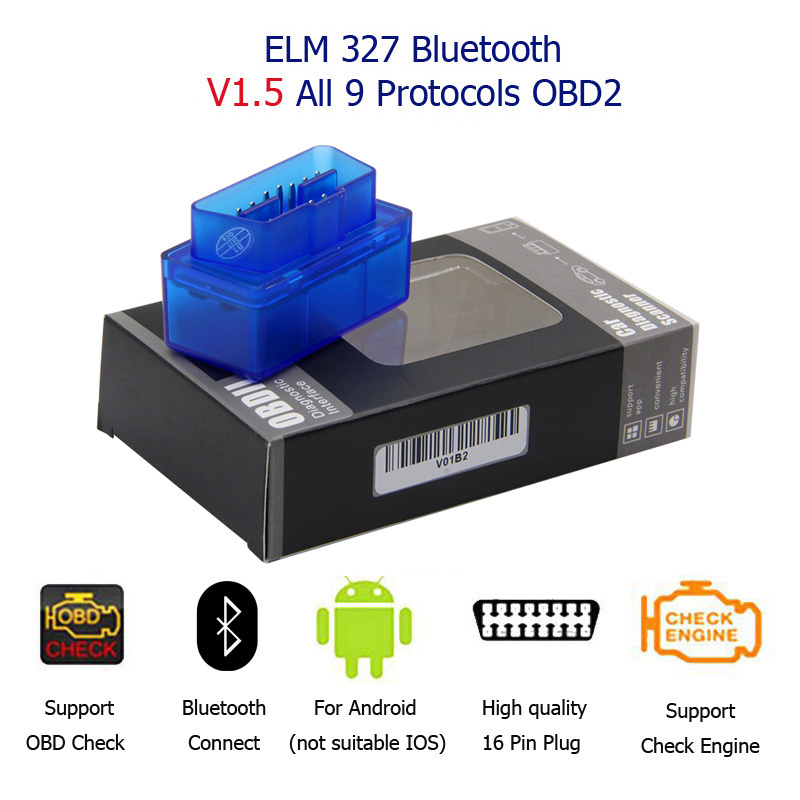 Super Mini ELM327 Bluetooth Elm327 V1.5 With 25k80 Chip Mini ELM-327 Auto OBD2 Diagnostic Scanner Mini ELM-327 For Android