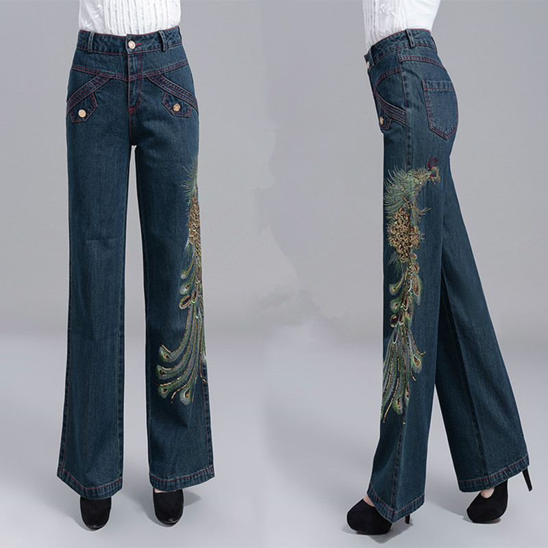 Free Shipping 2017 New Fashion Autumn And Winter Thick Plus Size XXL Loose Wide Leg Pants Straight Jeans Trousers Embroidery free shipping autumn and winter male straight plus size trousers loose thick pants extra large men s jeans for weight 160kg