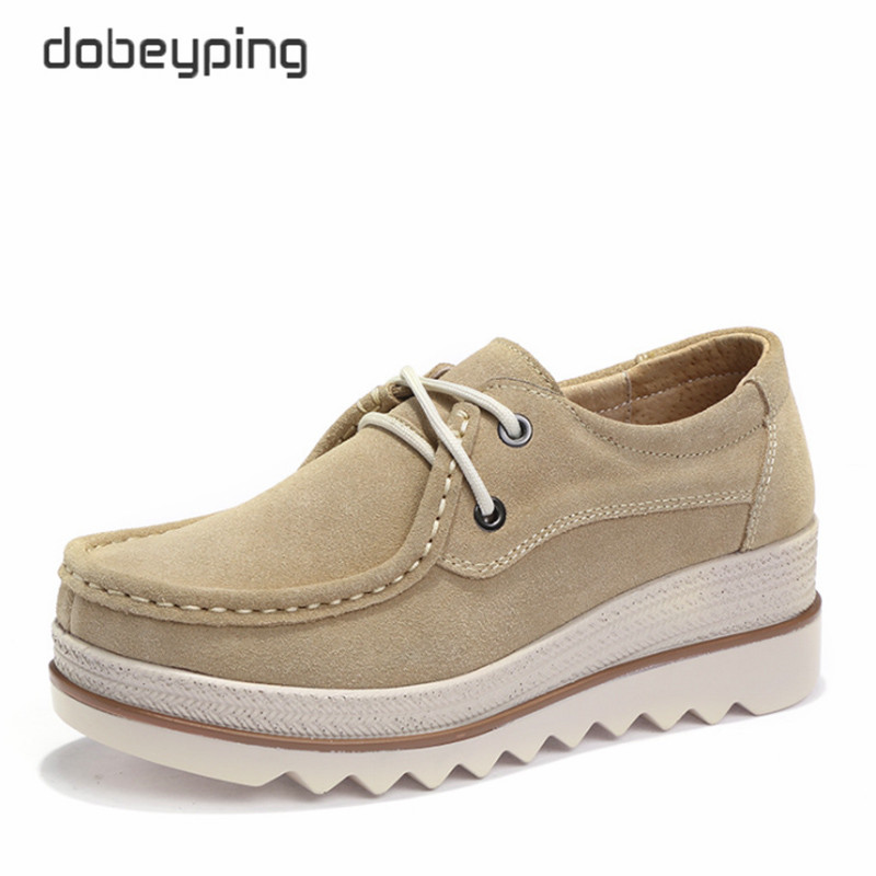 dobeyping New Autumn Shoes Woman Cow   Suede     Leather   Women Flats Lace-Up Women's Loafers Casual Flat Platform Female Sneakers