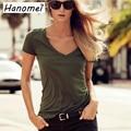 Womens Tops Fashion 2017 Short Sleeve Military Style V neck Slim Casual T Shirt Women Free Shipping c23