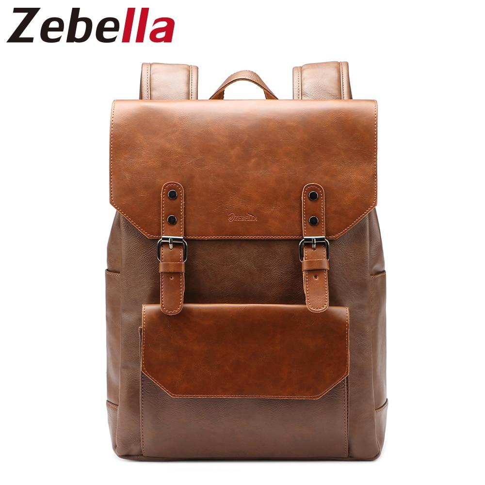 Zebella Capacitate mare pentru bărbați PU Rucsacul piele pentru bărbați Rucsacuri pentru laptop Daypack Școala pentru pungi pentru adolescenți mochilas femininas