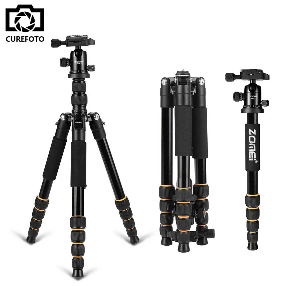 Hot Zomei Q666 Professional Tripod For DSLR Camera Ball Head Monopod Tripod Compact Travel Camera Stand for Canon Nikon Sony SLR zomei q666 professional tripod monopod with ball head compact travel tripods portable camera stand for slr dslr digital camera