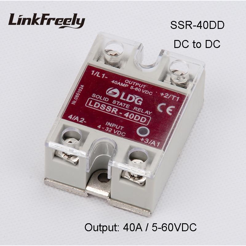 цена на SSR-40DD 40A Solid State Relay 3V 3.3V 5V 12V 24VDC Input Output: SSR DC DC 5V -60VDC Relay Switch Board SSR 40DD 10DD 25DD