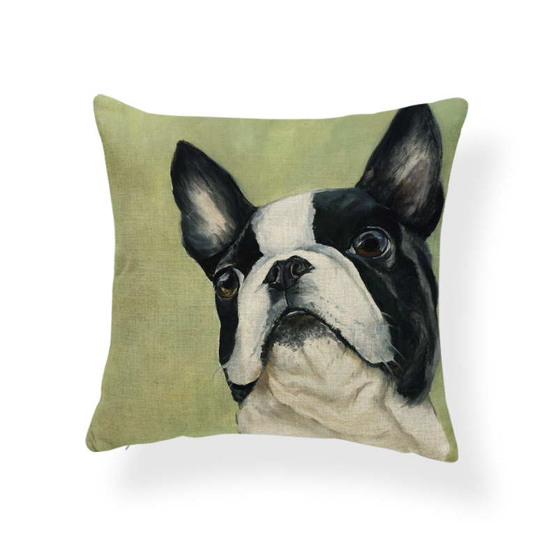 Us 2 99 19 Off Pug Dog Golden Retriever Cushion Cover Boston Terrier Schnauzer Pillow Case Home Decoration Toss Pillow 18x18 Polyester Luxury In