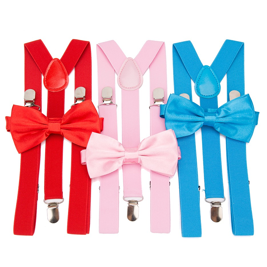 Suspenders Men Bow Tie Suspensorio For Man Women Solid Bowtie Braces Trousers Tirantes Hombre Wedding Leisure Pink Shirt Stays