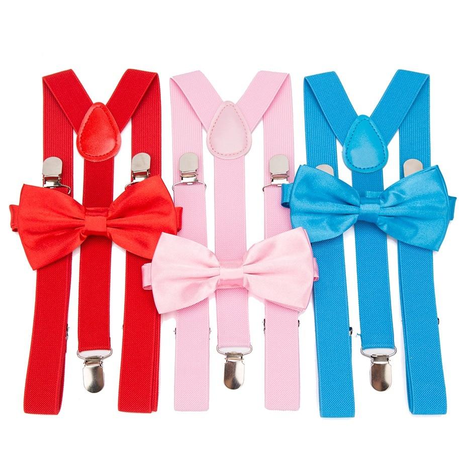 Suspenders Men Bow Tie Suspensorio For Man Women Solid Bowtie Braces Trousers Tirantes Hombre Wedding Leisure Pink Shirt Stays
