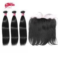 Али queen hair бразильский Прямо Девы человеческих волос 2/3 Связки With13 * 4 LaceFrontal застежка Бесплатная доставка