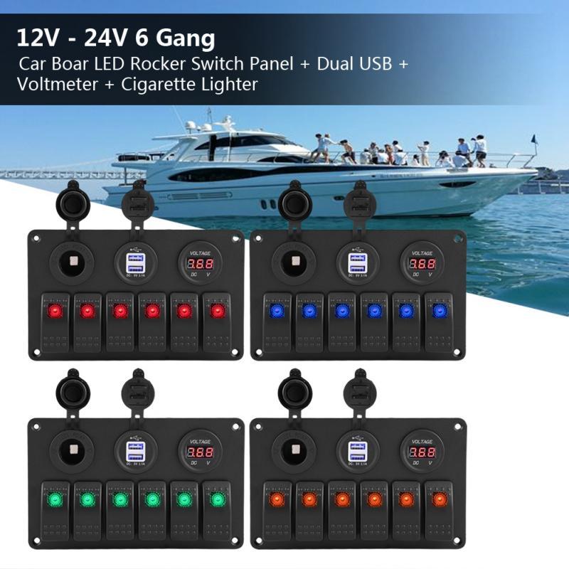 12V 24V 6 Gang Car Boat Marine LED Rocker Switch Panel Dual USB Voltmeter Cigarette Lighter Auto Replacement Parts 12 24V New