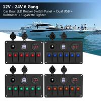 12V 24V 6 Gang Car Boat Marine LED Rocker Switch Panel Dual USB Voltmeter Cigarette Lighter Auto Replacement Parts 12 24V New