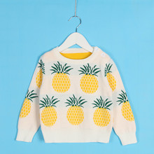 Fashion Children Cute Pineapple Pattern Knit Sweater Long Sleeve Cotton High quality Sweater Mother and kids Family Clothing