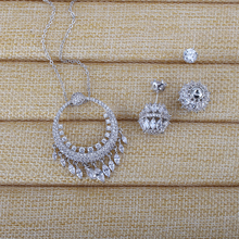 Very Girl Silver Color Jewelry Set For Women AAA Cubic Zriconia Crystal Ball Earrings and Necklace