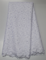 African white lace fabric high quality guipure lace fabric embroidery chemical lace fabric nigerian wedding lace AMY74k-2