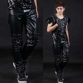 Free Shipping Men's Fashion New Danny Costumes Fashion Punk Rivet Trousers Ds Costume / 27-40