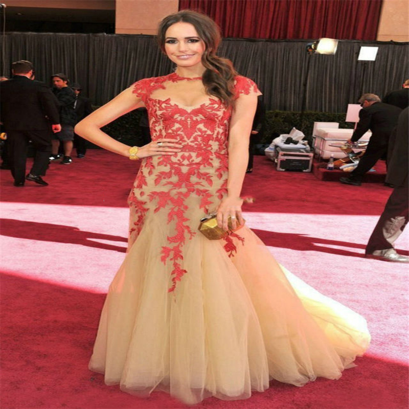 Robe De Soiree Longue Custom Made Champagne Tulle See Through Applique Red Sexy Mermaid Celebrity Dress Red Carpet Dresses