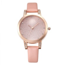 2019 Simple Casual Luxury Belt Watch Womens Diamond-Studded Star Dial Rose Ladies Fashion Quartz