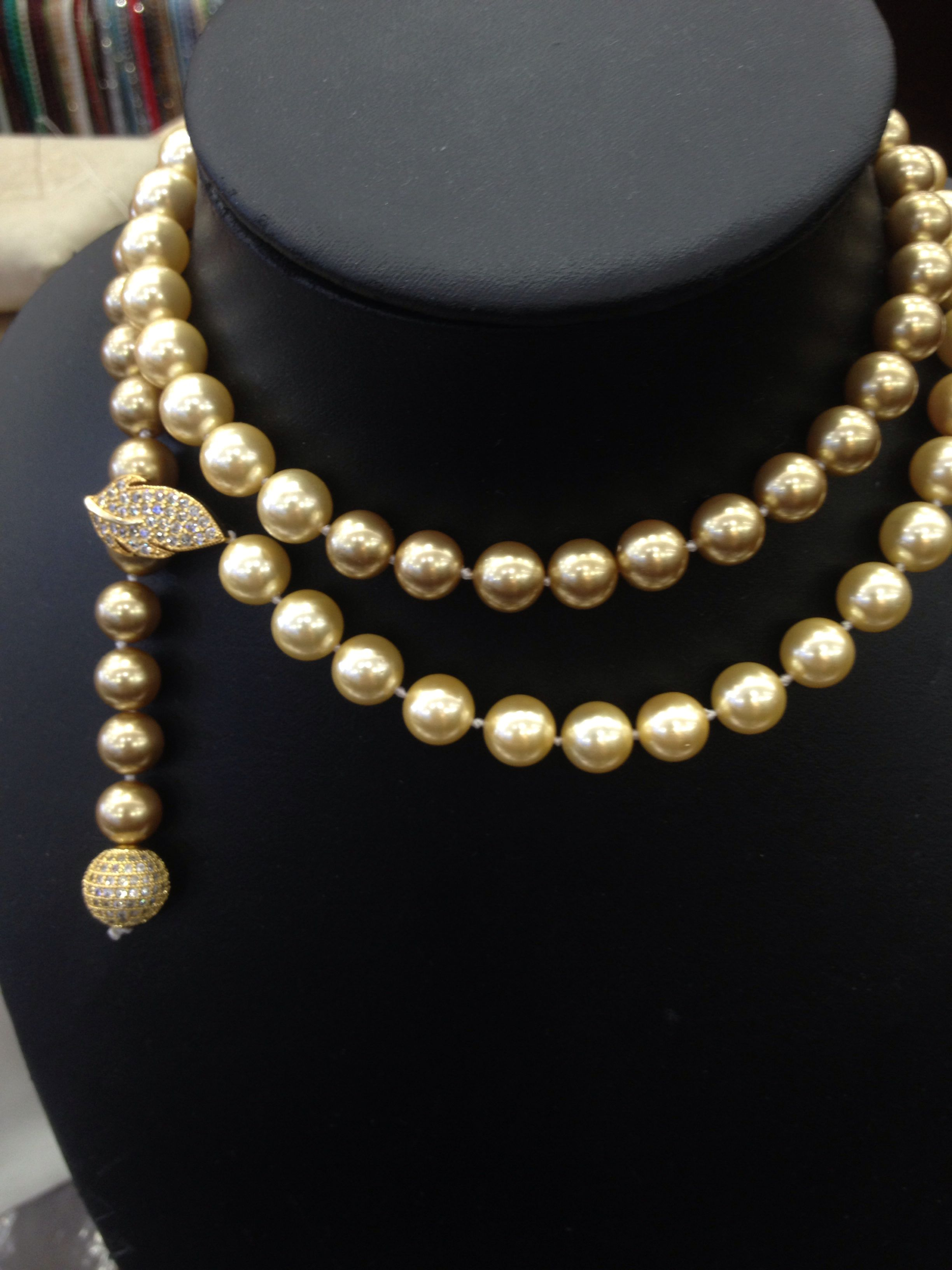 Fashion Jewelry Long Shell pearl necklace Gold color Long Or Short Necklacke 10MM Leaf Clasp Imitation pearl ...