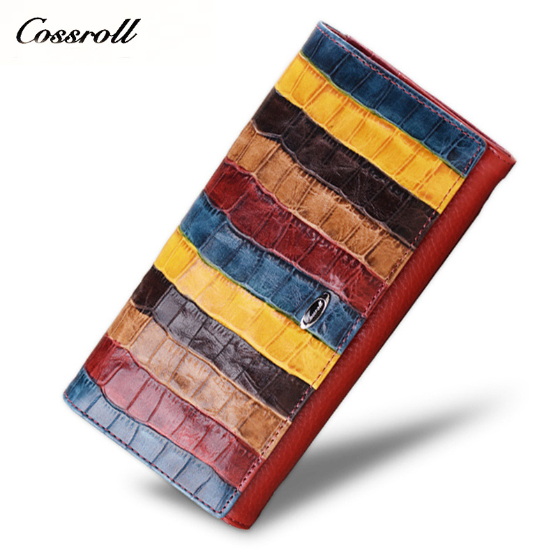2018 NEW women Genuine Leather Wallet Purse New Fashion Colorful Striped Female Long Clutch Bag Wallets for Women