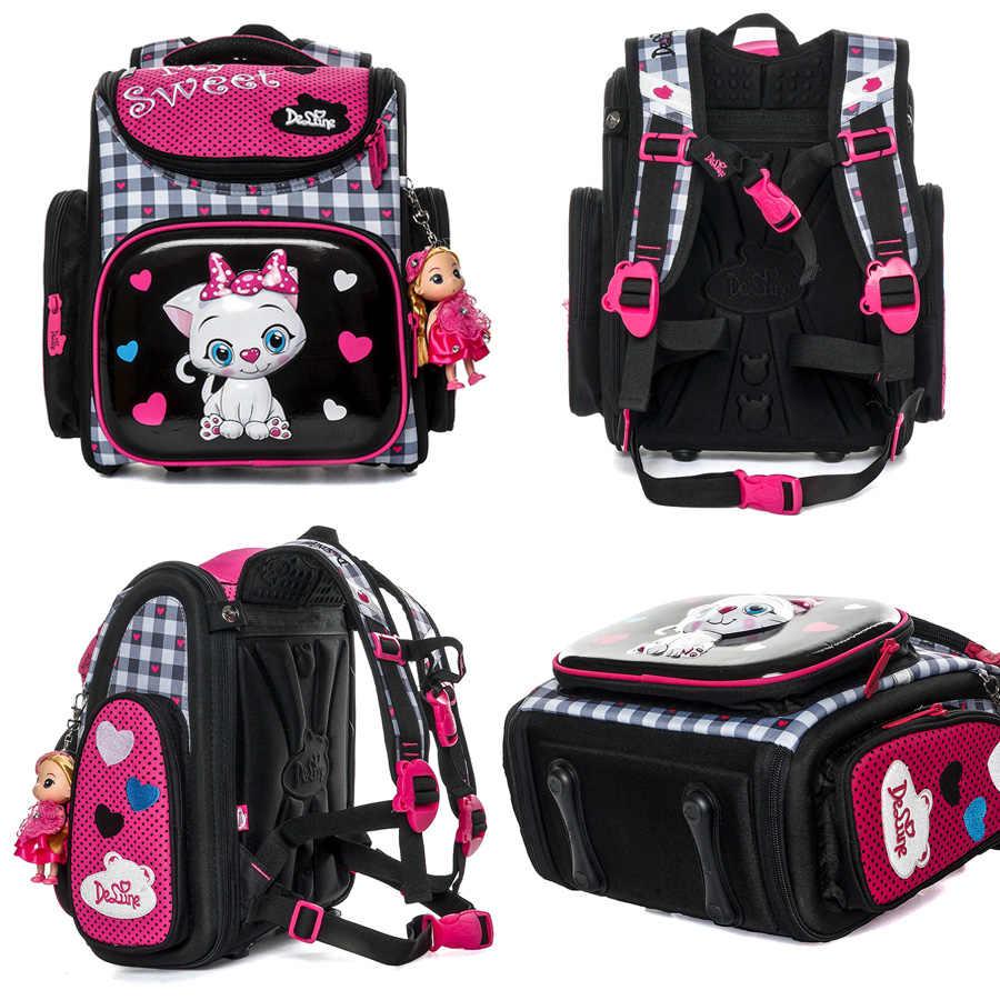 Delune 3D Cartoon Schule Taschen Für Gilrs Katze Muster Rucksack Kinder Orthopädische Rucksäcke Studenten Bookbag Mochila Grade 1-3