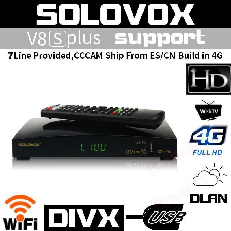 Récepteur de télévision par Satellite SOLOVOX V8S Plus DVB-S2 prise en charge numérique espagne cccam lignes nouveau USB wifi 4 K Youtube récepteur satellite