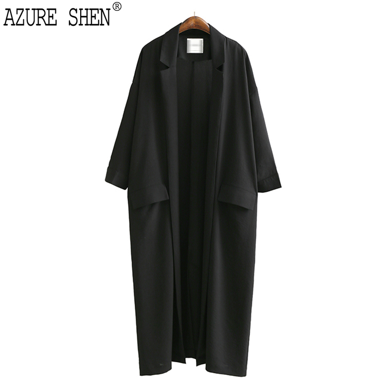 [EWQ] Loose Womens Windbreaker 2018 Spring Casual Turn-down Collar Pockets Black thin Coat Jacket Female Outwear U370