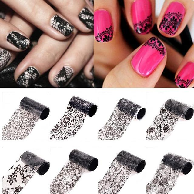 New Arrival 20 Kinds Manicure Lace Flower Pedicure DIY Nail Art Stickers Polishes Gel Guide