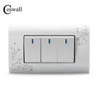 US AU CA Standard Kempinski Luxury 3 Gang Wall Switch Ivory White Brief Art Pattern Light