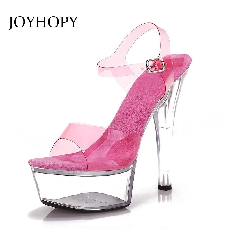 JOYHOPY Summer Fluorescence 15cm High Heel Sandals Women Transparent Platform Shoes For Party Wedding Pumps Super High Heels 15cm ultra high heels sandals ruslana korshunova platform crystal shoes the bride wedding shoes